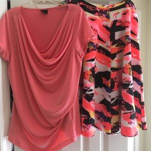 Worthington Blouse and Multicolored Skirt